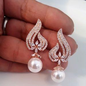 Brilliant CZ Rose Gold Pearl Drop Earrings Pierced